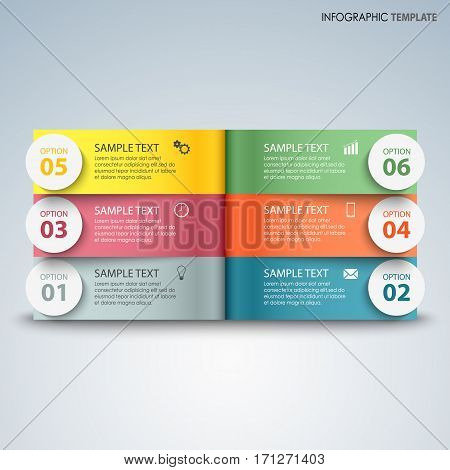 Info graphic with colorful pages above another template vector eps 10