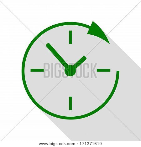 Service and support for customers around the clock and 24 hours. Green icon with flat style shadow path.