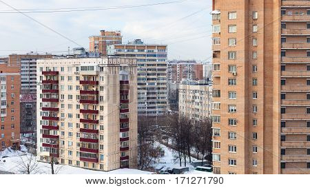 Urban Houses In Residential District In Winter