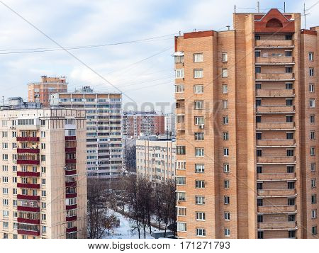 Apartment Houses In Residential District In Winter