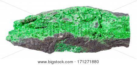 Druse Of Uvarovite Crystals On Rock Isolated
