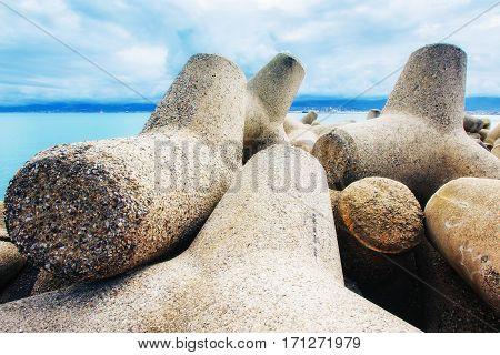 Stones on the seashore. coast beach. Sicily. Italy Europe