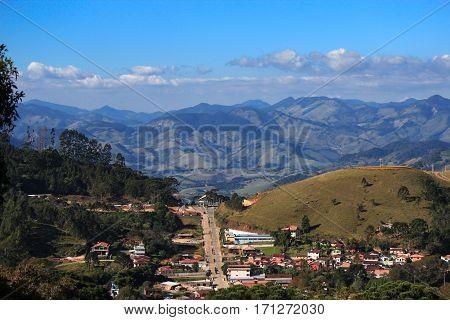 View of the city of Goncalves and Serra da Mantiqueira (Minas Gerais - Brazil)
