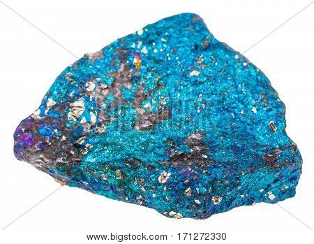 Natural Blue Chalcopyrite Stone Isolated