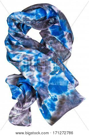 Wrapped Silk Scarf With Abstract Blue Pattern