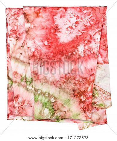 Silk Scarf With Abstract Pink And Green Ornament