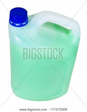 Above View Of Plastic Jerrycan With Green Liquid