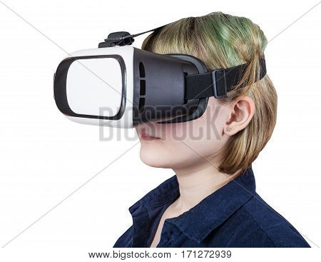 Teenager In Virtual Reality Glasses Isolated