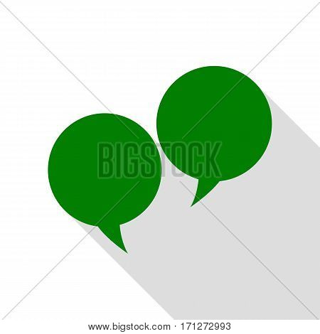 Speech bubble sign. Green icon with flat style shadow path.