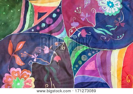 Geometric And Floral Pattern On Silk Batik
