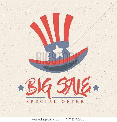 united states of america top hat icon. big sale concept. colorful design. vector illustration