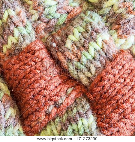 Motley Hand Knitted Wool Fabric Close Up
