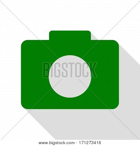 Digital camera sign. Green icon with flat style shadow path.