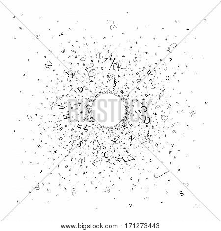 Abstract background of alphabet symbols. World book and copyright day. International Day of writer. International Day of the Book. World Book Day. Studying and learning concept. Illustration.