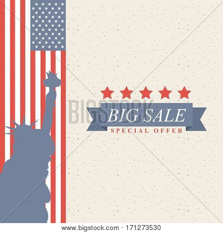 united states of america country flag and silhouette of liberty statue of liberty. big sale concept.  colorful design. vector illustration