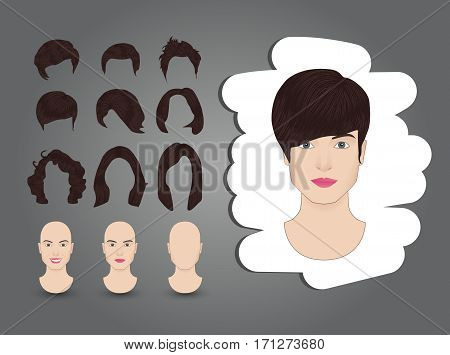 vector illustration hairstyles for women set brown