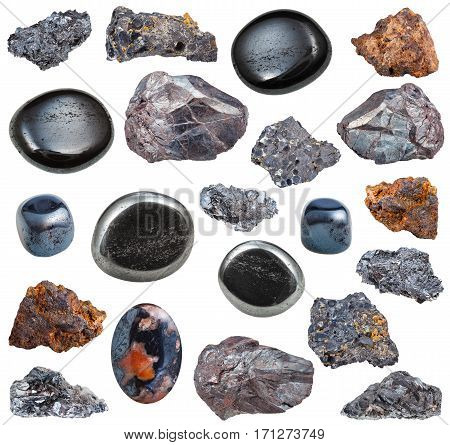 Collection Of Tumbled And Raw Hematite Stones