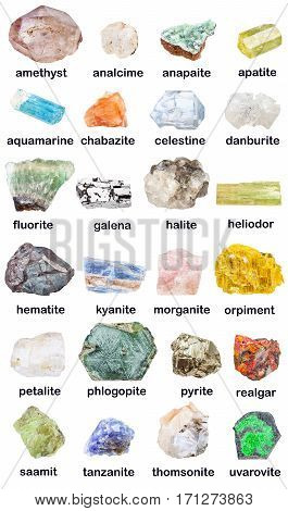 Collection Of Various Raw Minerals With Names