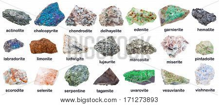Collection Of Various Minerals With Names