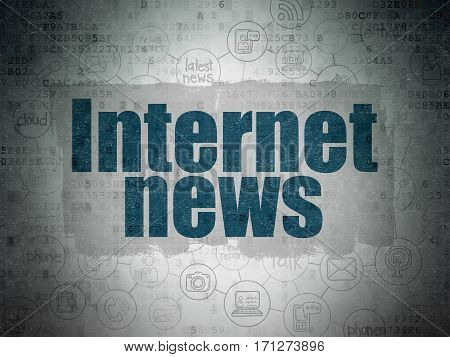 News concept: Painted blue text Internet News on Digital Data Paper background with  Scheme Of Hand Drawn News Icons
