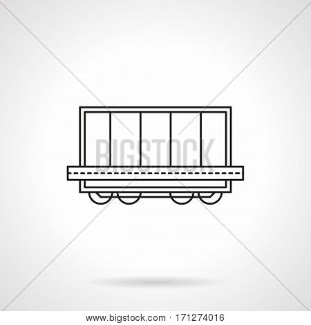 Railroad transportation symbol. Rail car platform with container. Flat black line vector icon.