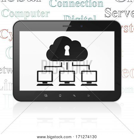Cloud networking concept: Tablet Computer with  black Cloud Network icon on display,  Tag Cloud background, 3D rendering