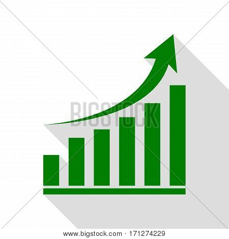 Growing graph sign. Green icon with flat style shadow path.