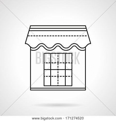 Storefront of kiosk with awning. Retail trade structure. Flat black line vector icon.