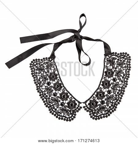 Golden necklace with diamonds on white background
