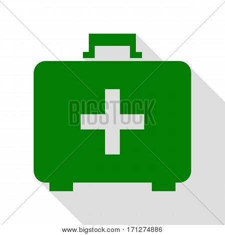 Medical First aid box sign. Green icon with flat style shadow path.