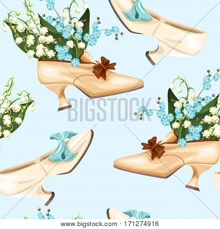 Vintage shoes and flowers vector seamless background