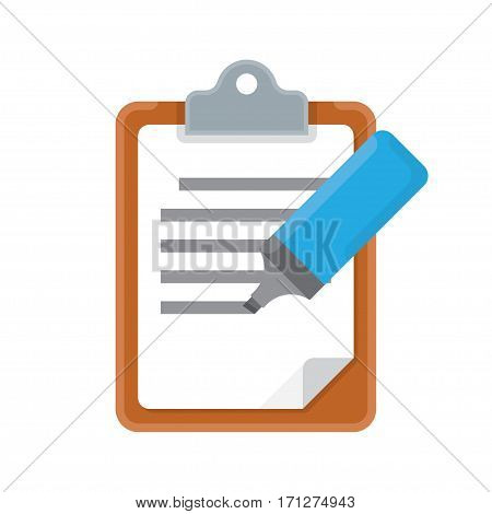 Clipboard and marker icon on white background vector illustration
