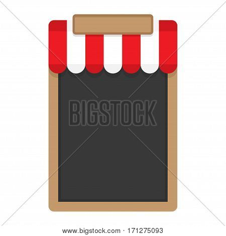 Blank frame for menu with red awning. Vector illustration