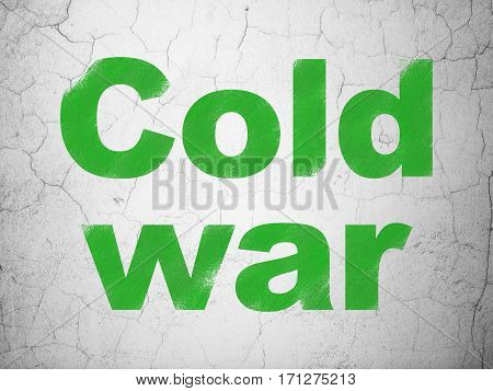 Politics concept: Green Cold War on textured concrete wall background