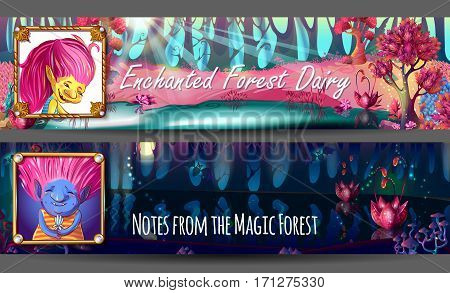 Troll characters avatars horizontal banners on colorful enchanted forest landscape in day and night time vector illustration