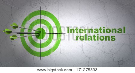 Success politics concept: arrows hitting the center of target, Green International Relations on wall background, 3D rendering