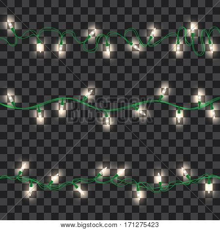 Set of white shining garland lights with holders on transparent background. Christmas, New Year party decoration realistic design elements. Glowing lights for Xmas. Holiday greeting design.