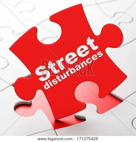 Politics concept: Street Disturbances on Red puzzle pieces background, 3D rendering