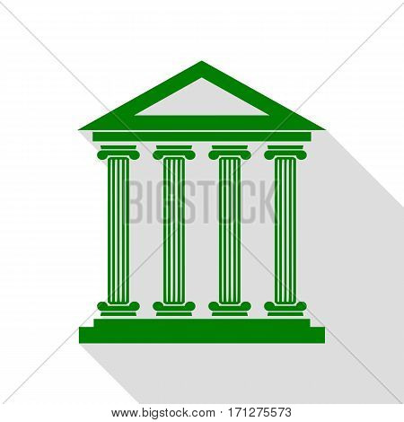 Historical building illustration. Green icon with flat style shadow path.
