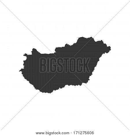 Hungary map silhouette on the white background. Vector illustration