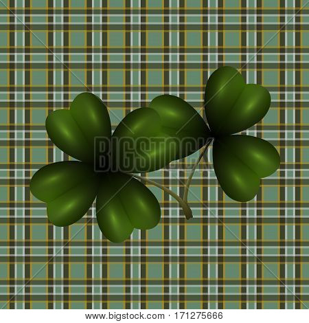 Patrick's Day. Clover leaf translucent image. Background in the cell in the Irish style. Vector illustration