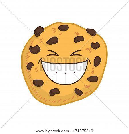 Funny cookie cartoon icon vector illustration graphic design
