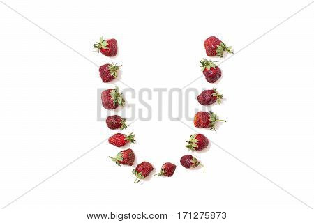 Red strawberries isolated on white background. Funny letters. English alphabet. ABC. Letter U