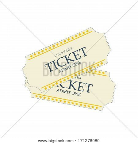 Movie ticket on the white background. Vector illustration