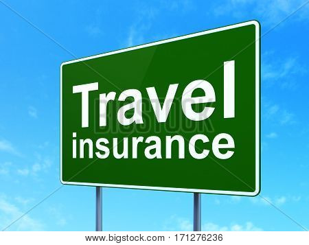 Insurance concept: Travel Insurance on green road highway sign, clear blue sky background, 3D rendering