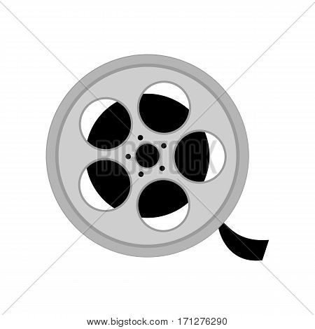 Reel with film on the white background. Vector illustration