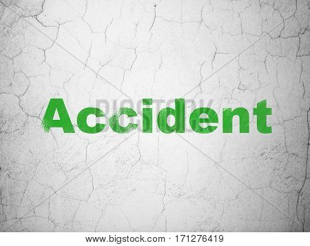 Insurance concept: Green Accident on textured concrete wall background