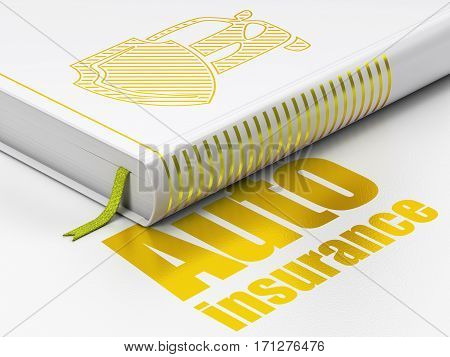 Insurance concept: closed book with Gold Car And Shield icon and text Auto Insurance on floor, white background, 3D rendering