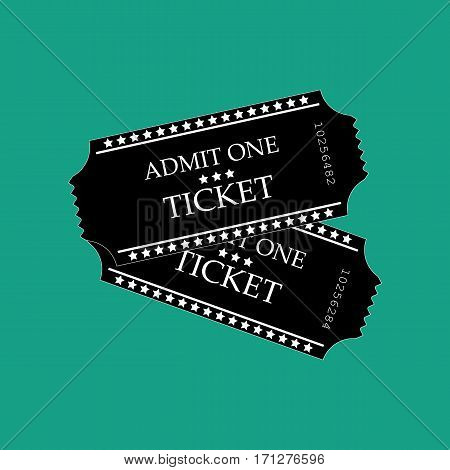 Movie ticket on the green background. Vector illustration