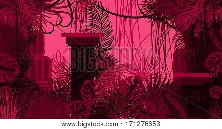 Pink dense foliage exotic nature background. Palm leaves, tree branches and tribal columns vector.